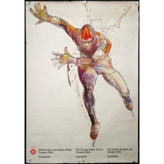 SARAJEVO OLIMPIJSKE IGRE PLAKAT BRZO KLIZANJE : SARAJEVO OLYMPIC GAMES VINTAGE POSTER SPEED SKATING
